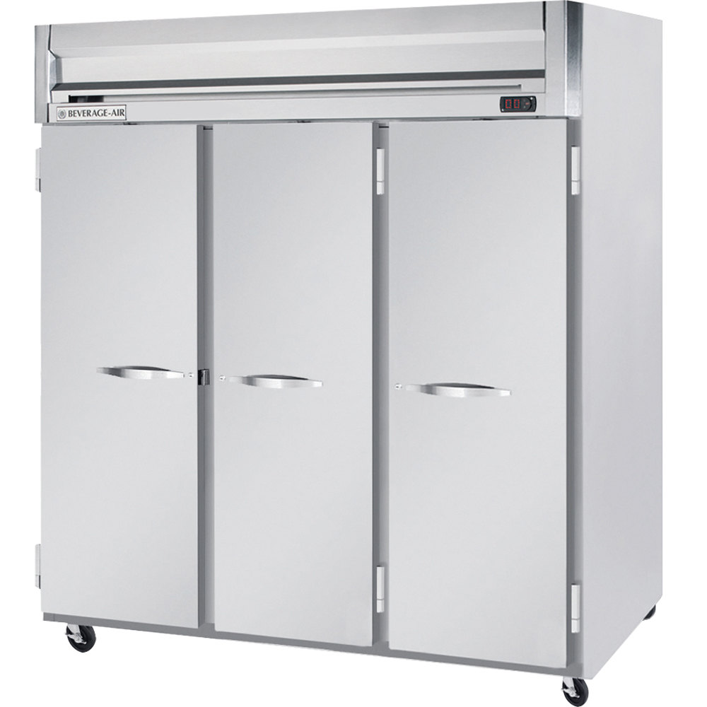 "Beverage Air HFS3-5S 78"" Horizon Series Three Section Solid Door Reach in Freezer with Stainless Steel Interior- 74 cu. ft."