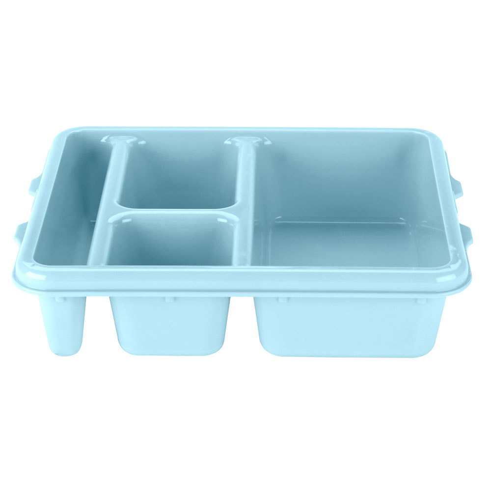 "Cambro 9114CW414 Camwear 9"" x 11"" Teal 4 Compartment Meal Delivery Tray - 24/Case"
