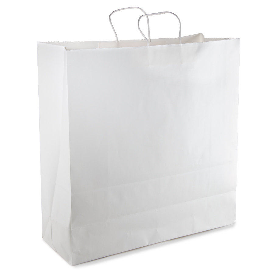 White Shopping Bag Black Handle Cargo White Paper Shopping Bag