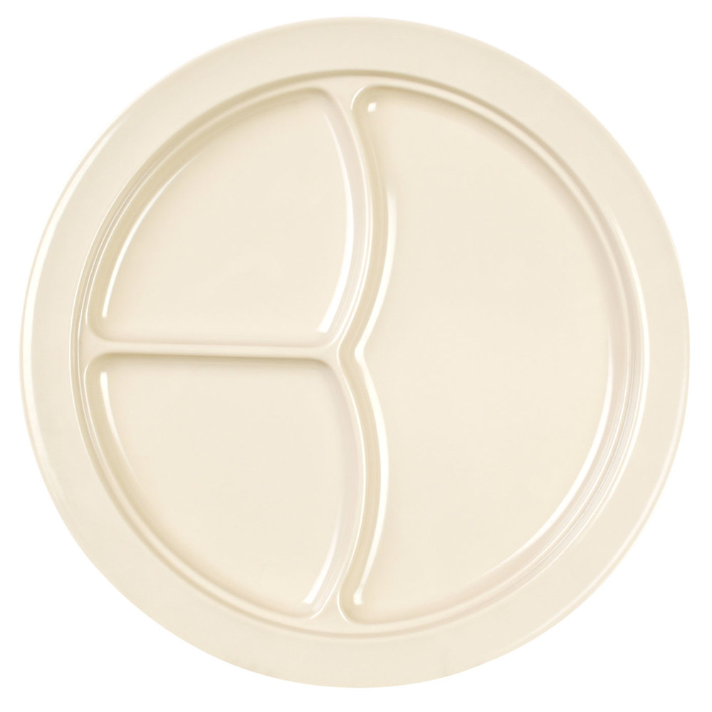 "Nustone Tan 10"" 3 Compartment Melamine Plate - 12 / Pack"