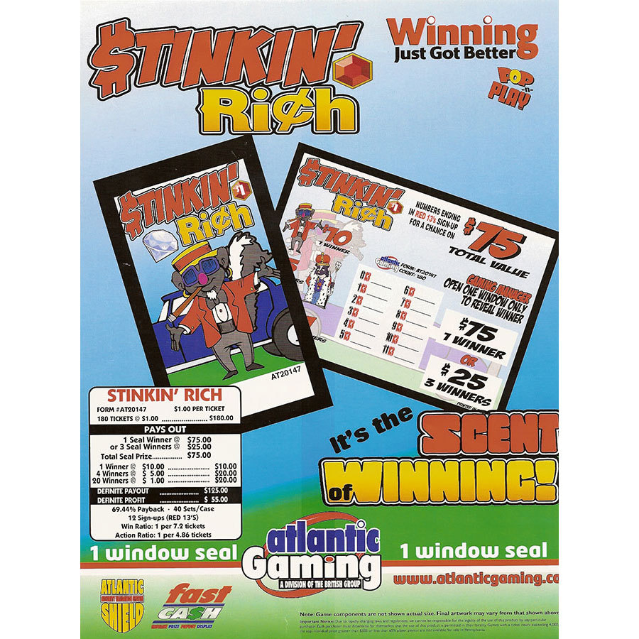 """""""Stinkin' Rich"""" 1 Window Pull Tab Tickets - 180 Tickets Per Deal - Total Payout: $125 at Sears.com"""