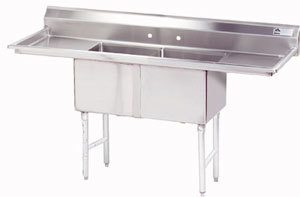 Advance Tabco FC-2-1818-18RL Two Compartment Stainless Steel Commercial Sink with Two Drainboards - 72 inch with 18 inch X 24 inch Drainboard