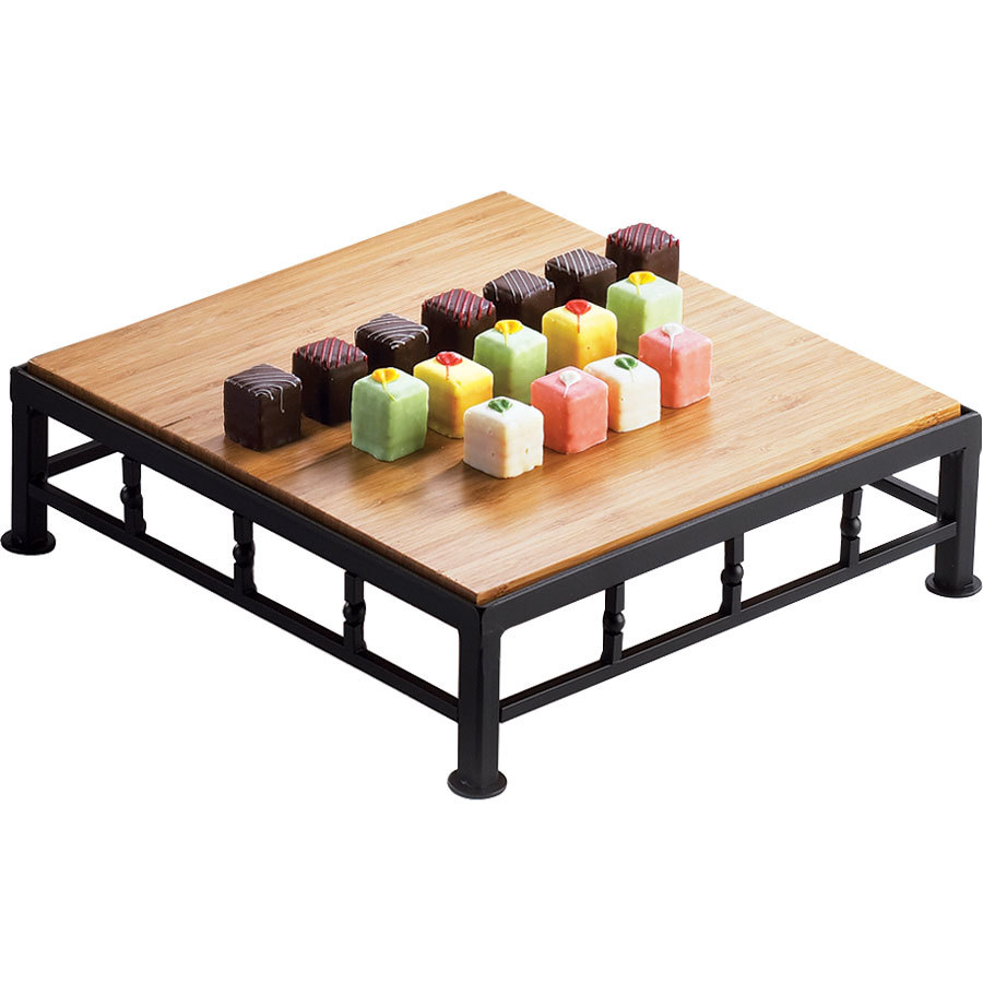 "Cal-Mil 1711-3-60 Iron Black Square Riser with Bamboo Top - 12"" x 3"""