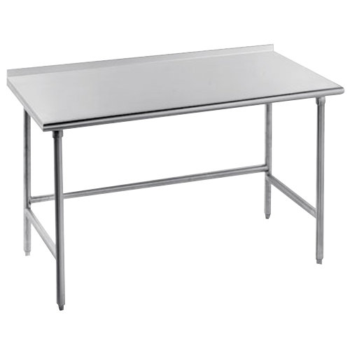 "Advance Tabco TFSS-240 24"" x 30"" 14 Gauge Open Base Stainless Steel Commercial Work Table with 1 1/2"" Backsplash"