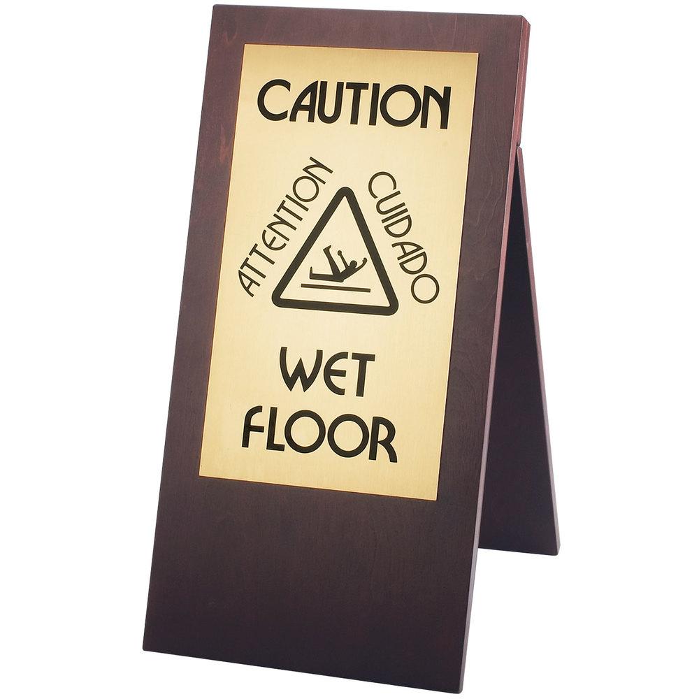 Wooden wet floor signs gurus floor for Floor banner