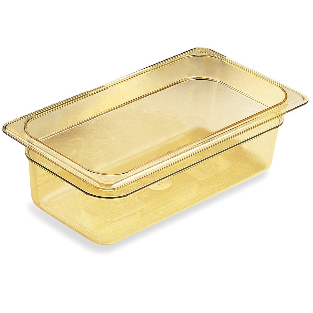 Cambro 36HP150 Amber H-Pans 6 inch Deep 1/3 Size High Heat Food Pan