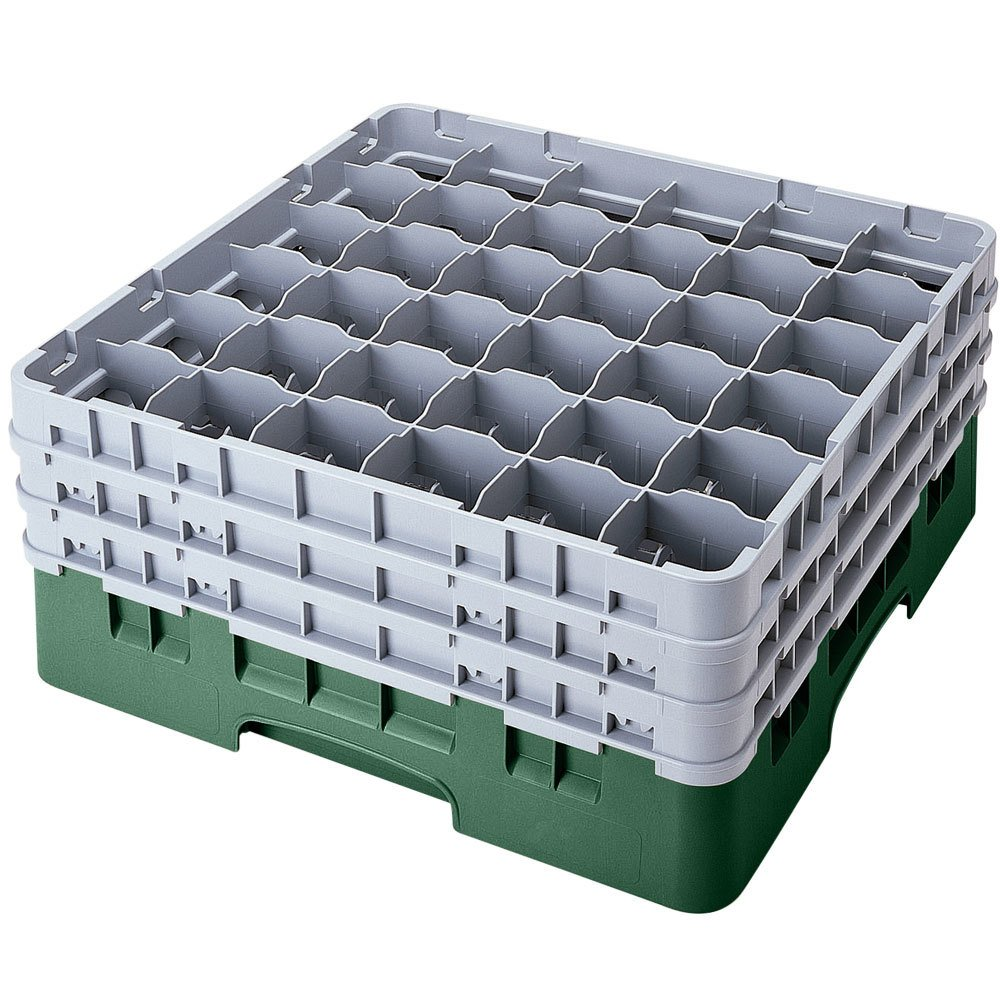 "Cambro 36S958119 Sherwood Green Camrack 36 Compartment 10 1/8"" Glass Rack"