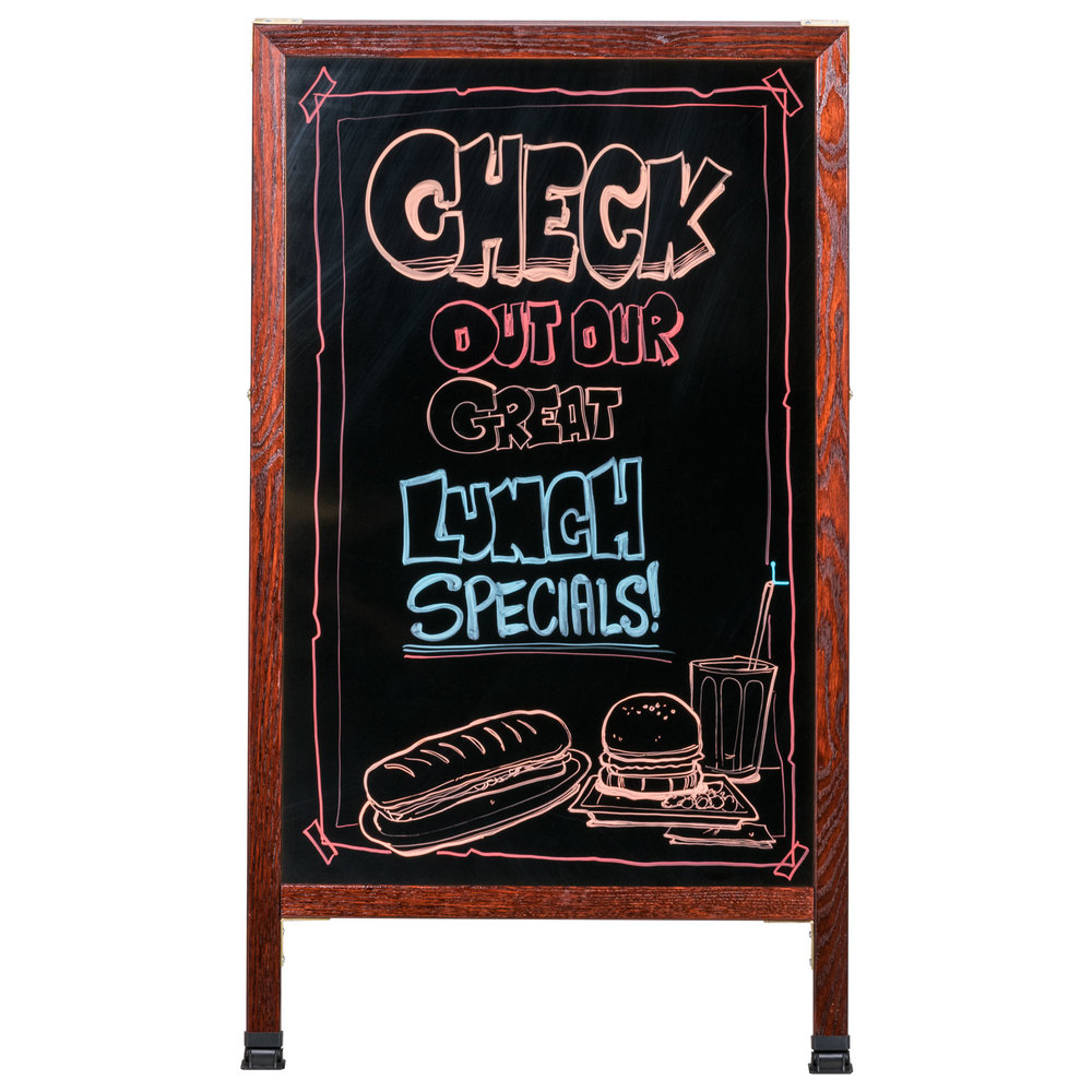 "Aarco 42"" x 24"" Cherry A-Frame Sign Board with Black Marker Board"