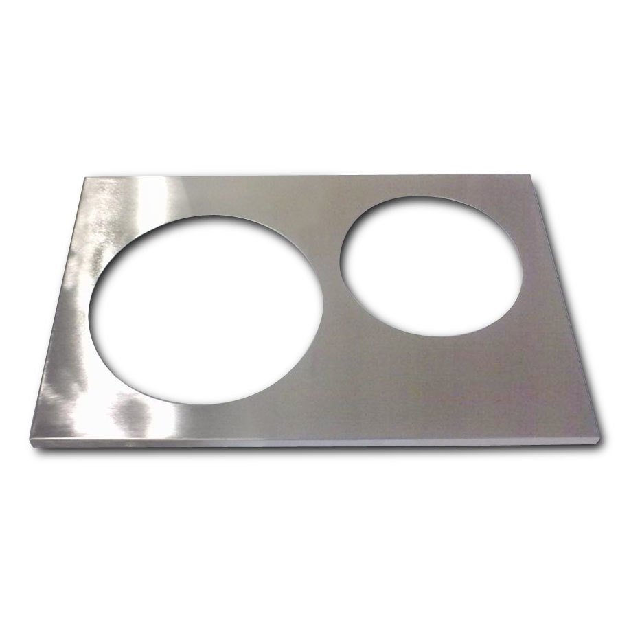 "APW Wyott 14880 2 Hole Adapter Plate with 8 3/8"" and 10 3/8"" Openings"
