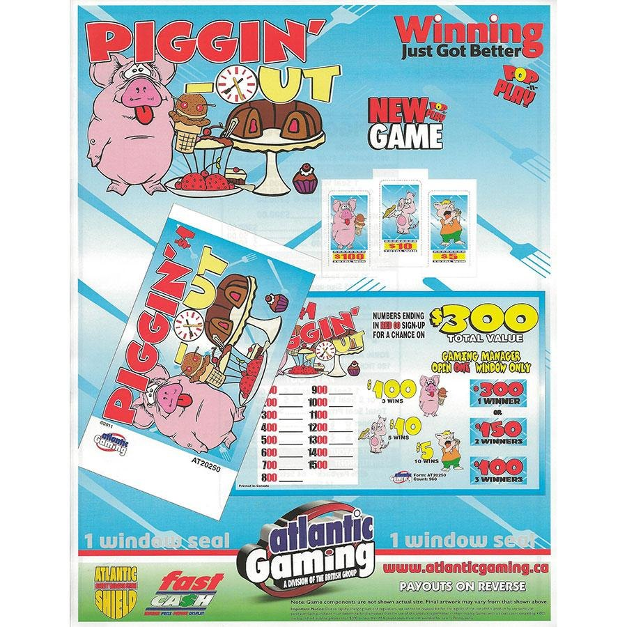 """""""Piggin' Out"""" 1 Window Pull Tab Tickets - 120 Tickets Per Deal - Total Payout: $78 at Sears.com"""