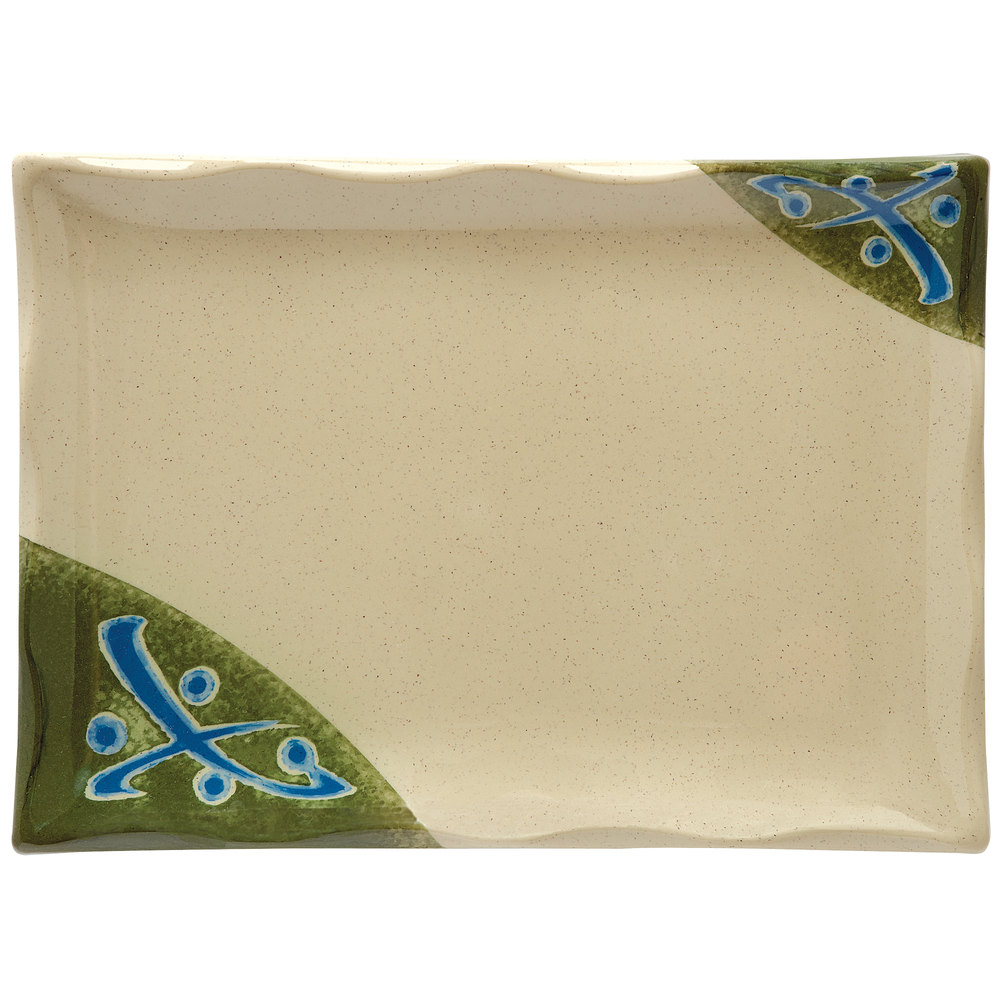"GET 142-24-TD Japanese Traditional Wavy Edge Rectangular Plate 9 1/4"" x 6 1/2"" - 12/Case"