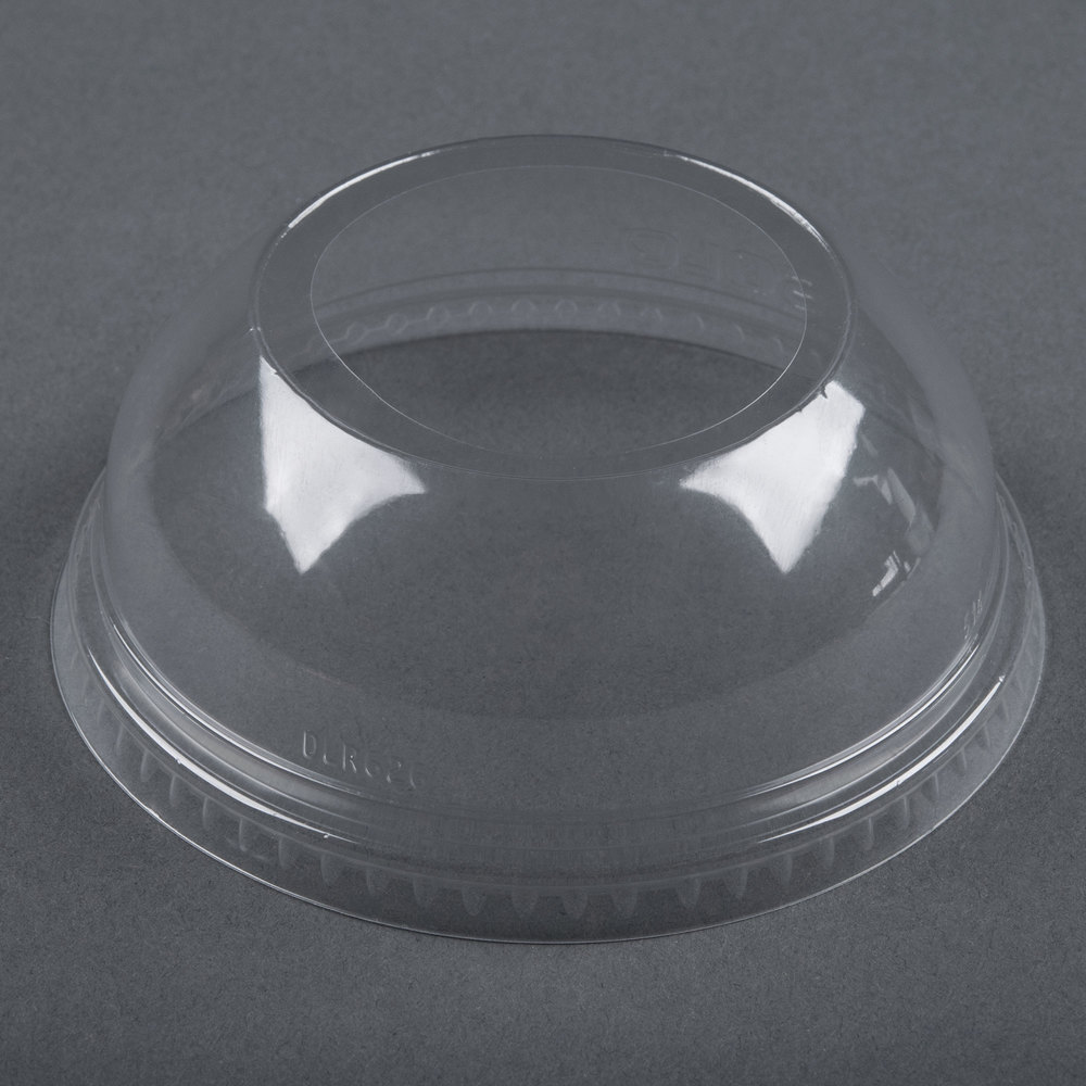 "Dart Solo Conex DLW626 Clear PET Dome Lid with 2"" Hole - 50/Pack"
