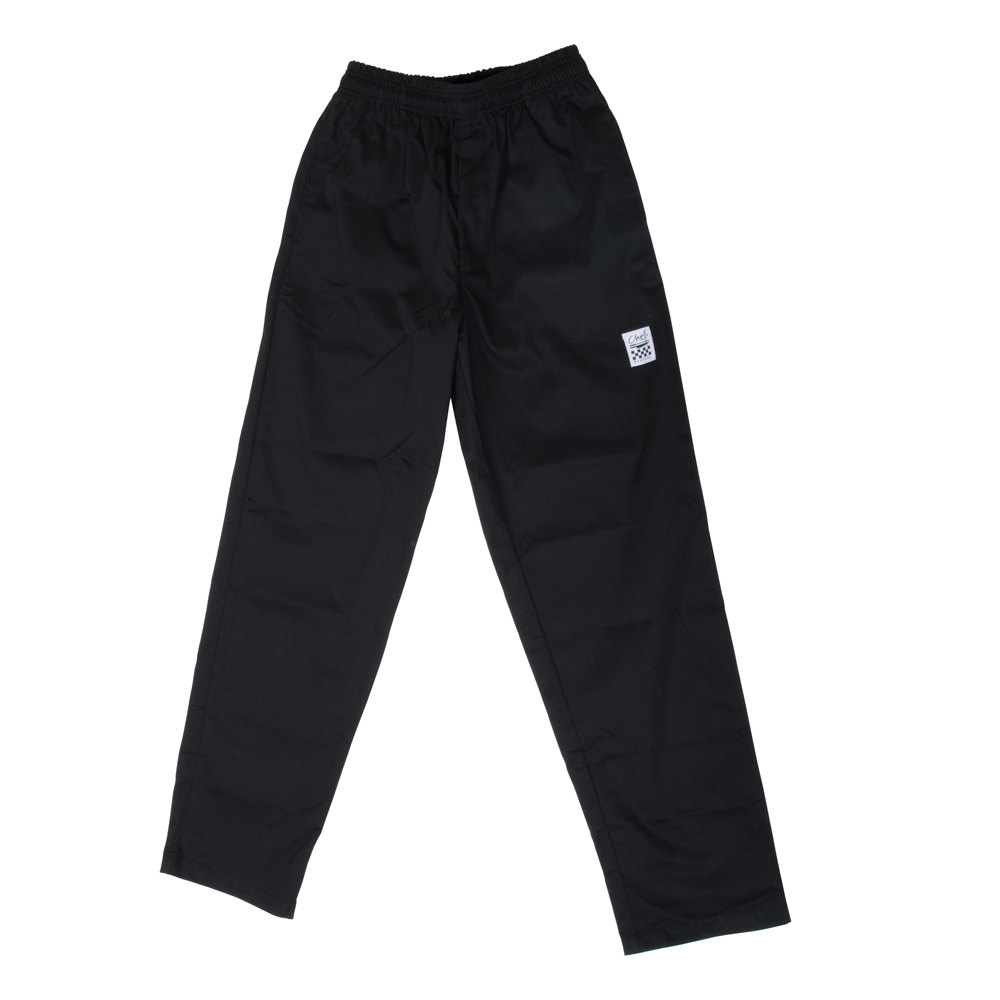 Chef Revival P002BK Size L Black EZ Fit Chef Pants - Poly-Cotton