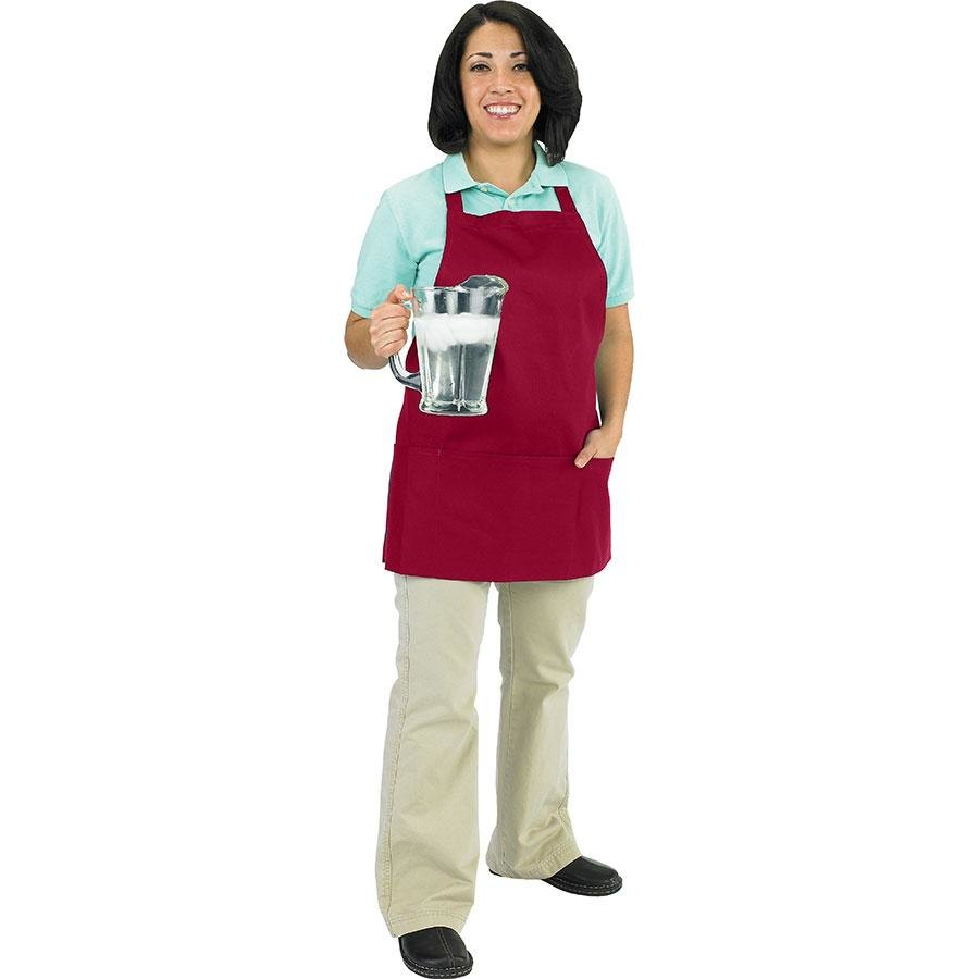 Chef Revival 602BAFH-BG Professional Front of the House Burgundy Bib Apron – 28 inch x 25 inch