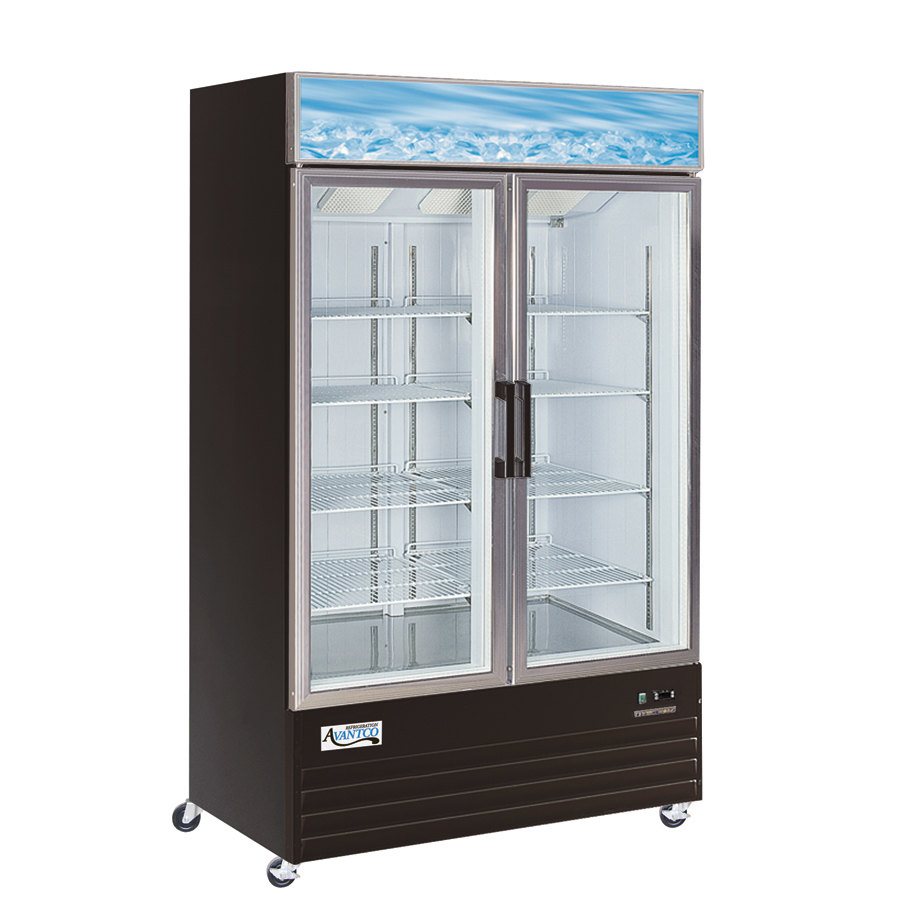 Avantco GDC40 48 inch Swing Glass Door Black Merchandiser Refrigerator