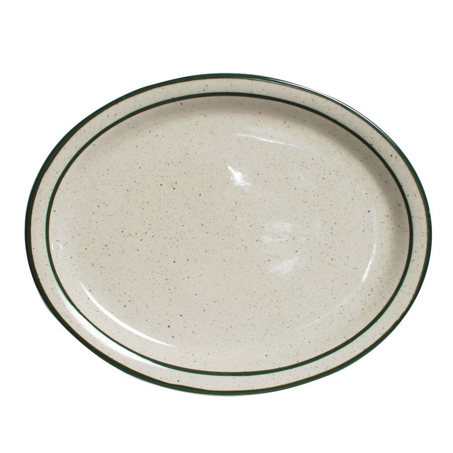 "Tuxton TES-014 Emerald 13 1/4"" x 10 1/2"" Green Speckle Narrow Rim Oval China Platter - 12/Case"