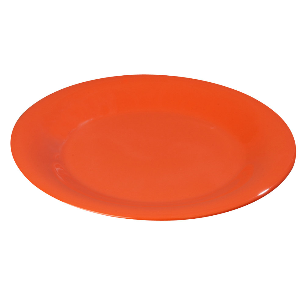 "Carlisle 3301652 7 1/2"" Sunset Orange Sierrus Wide Rim Salad Plate - 48 / Case"