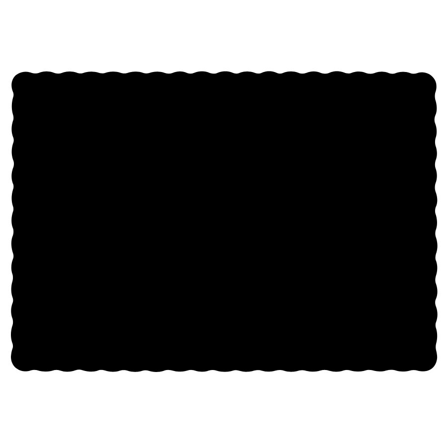 "Hoffmaster 310551 10"" x 14"" Black Colored Paper Placemat with Scalloped Edge - 1000/Case"