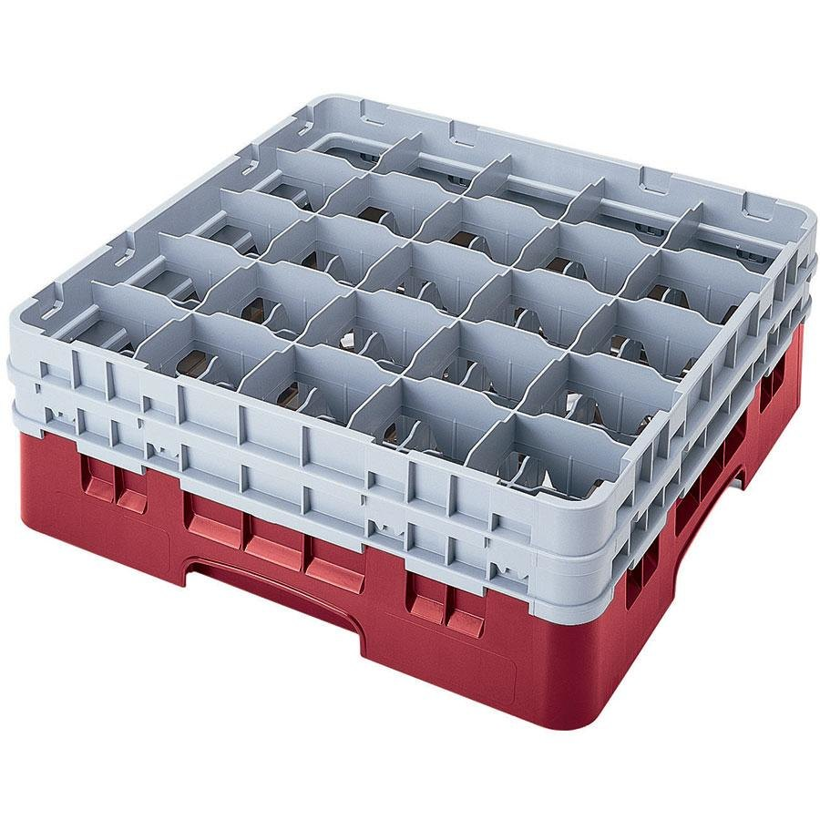 "Cambro 25S534416 Camrack 6 1/8"" High Cranberry 25 Compartment Glass Rack"