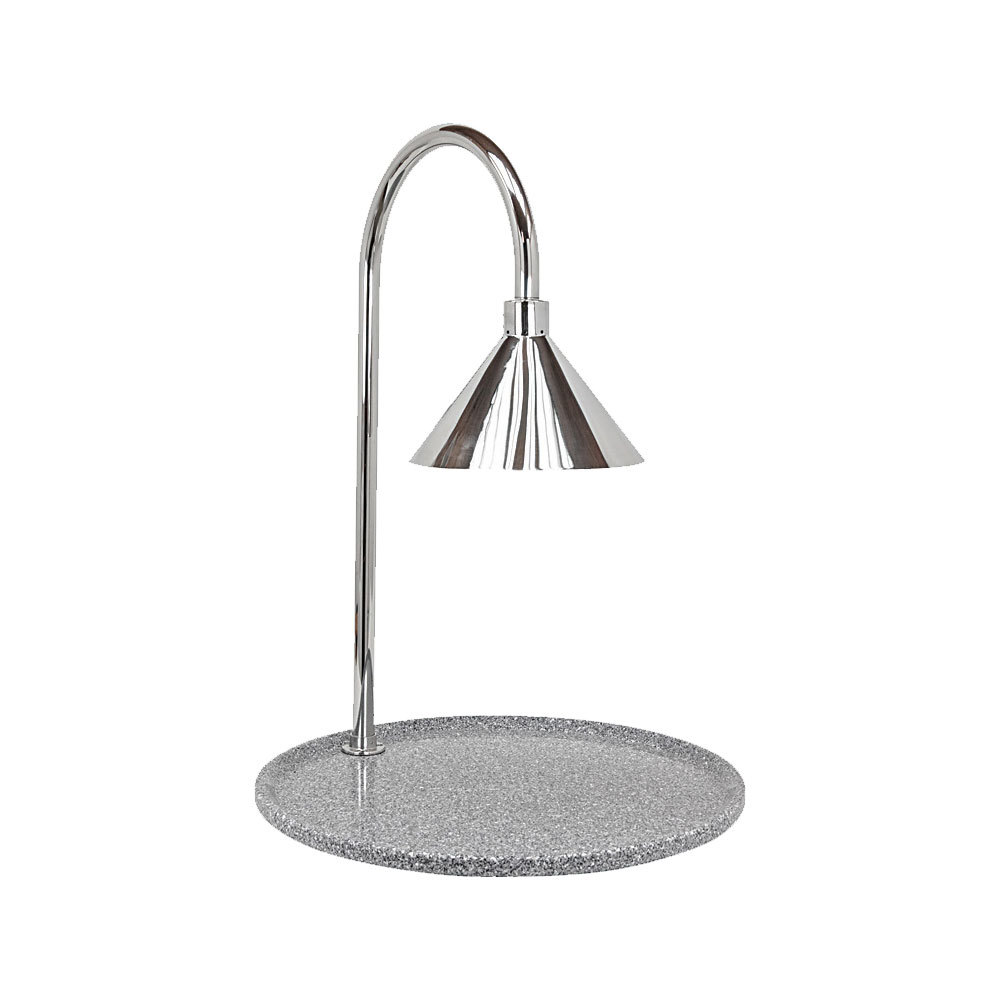 "Buffet Enhancements 010HCLW-GG30RDSS 30"" Contemporary Round Carving Station with Gray Granite Base and Stainless Steel Lamp"