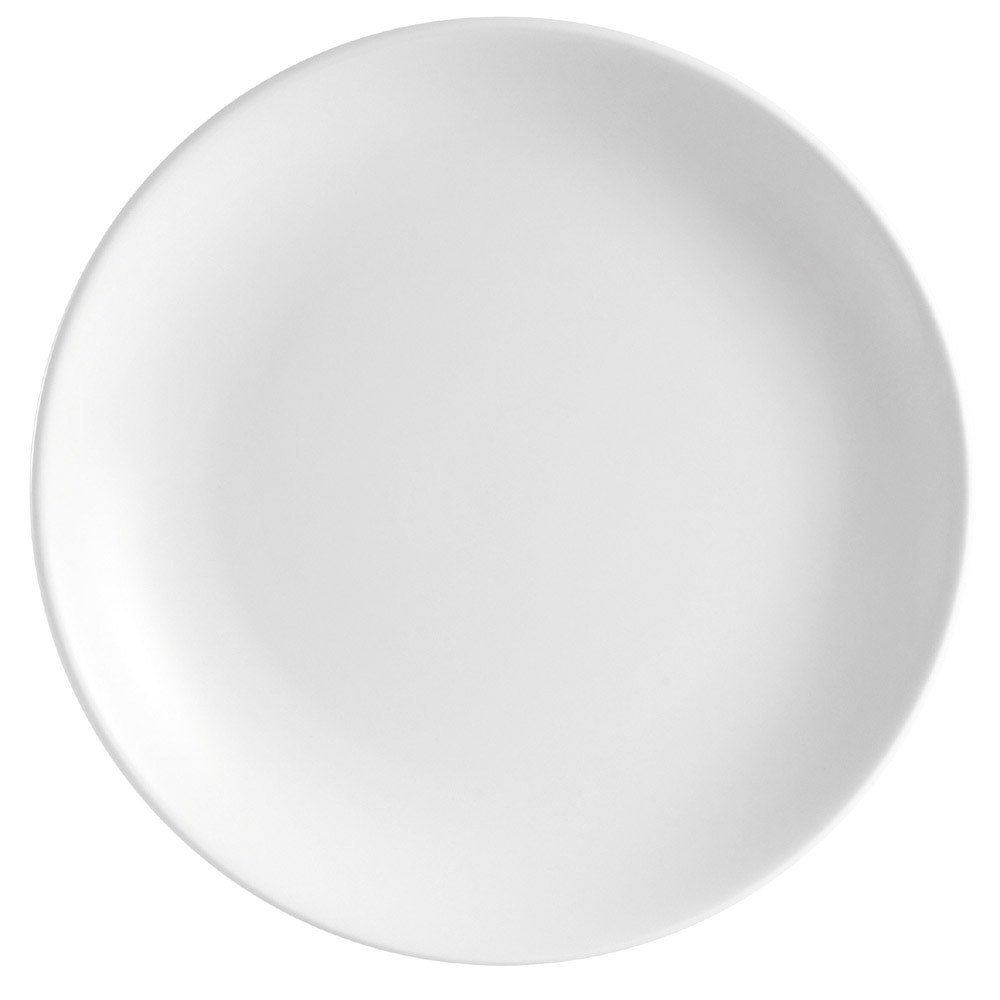 "CAC COP-26 16"" Coupe Bright White Round Porcelain Plate - 4/Case"