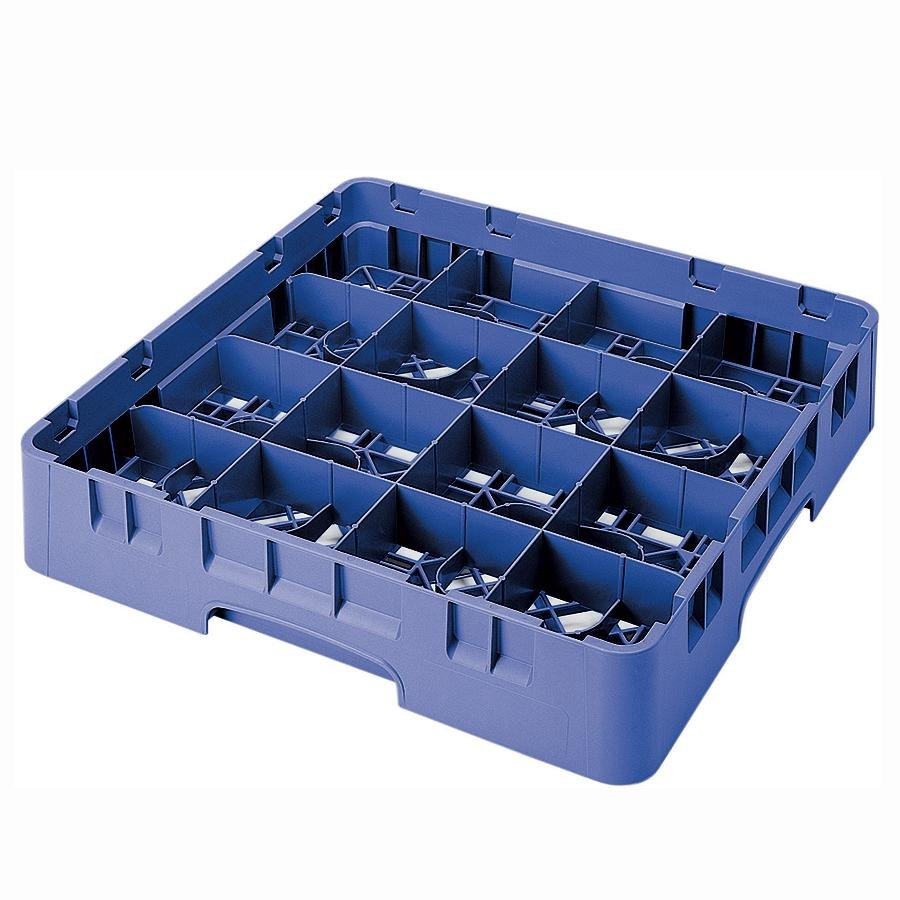 "Cambro 16S434168 Camrack 5 1/4"" High Blue 16 Compartment Glass Rack"