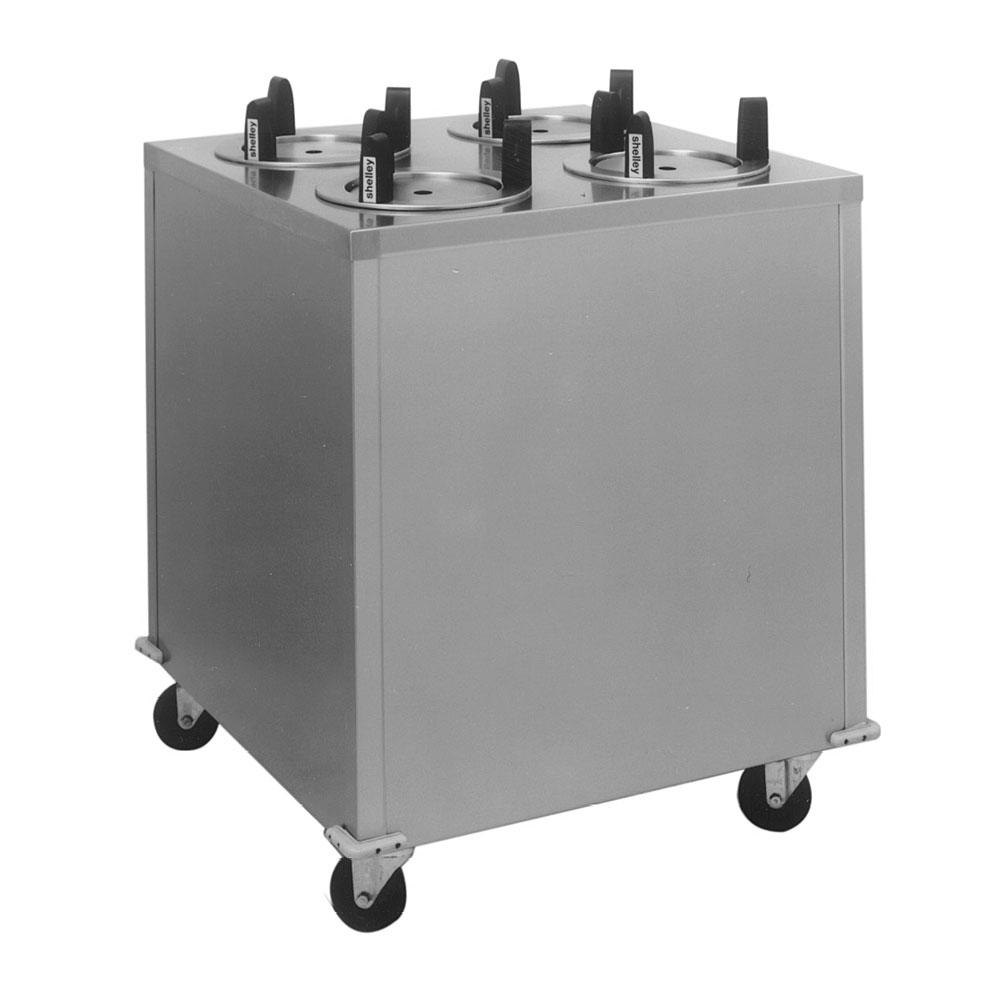 "Delfield CAB4-1013ET Even Temp Mobile Enclosed Four Stack Heated Dish Dispenser / Warmer for 9 1/8"" to 10 1/8"" Dishes - 208V"