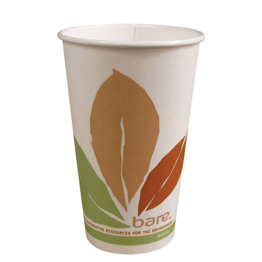 Solo 378PLA-BB 8 oz. Bare Bloom Paper Hot Cup - 50 / Pack