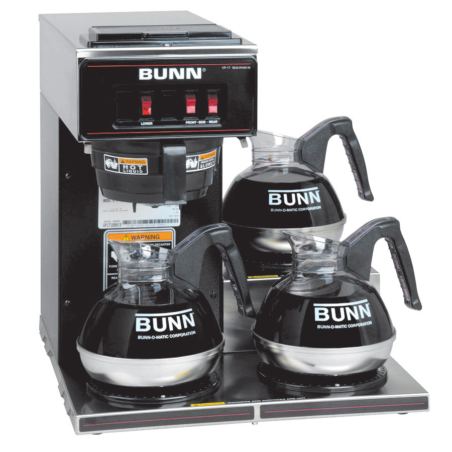 Bunn Coffee Maker Dealers : Bunn VP17-3 13300.0013 Low Profile Pourover Coffee Brewer with 3 Warmers (Bunn 13300.0013)