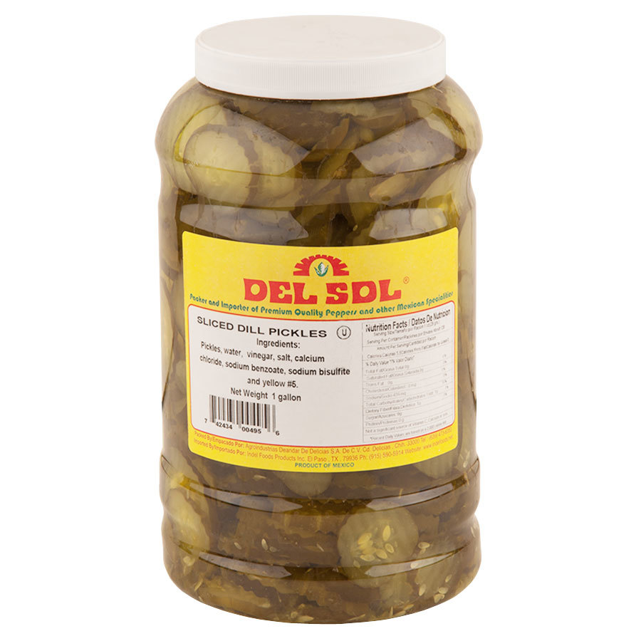 Del Sol Kosher Dill Pickle Chips 1 Gallon Jars 4 / Case
