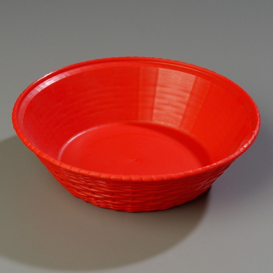 "Carlisle 652405 WeaveWear Red Round Plastic Serving Basket 9"" 1.6 Qt. 12 / Case"