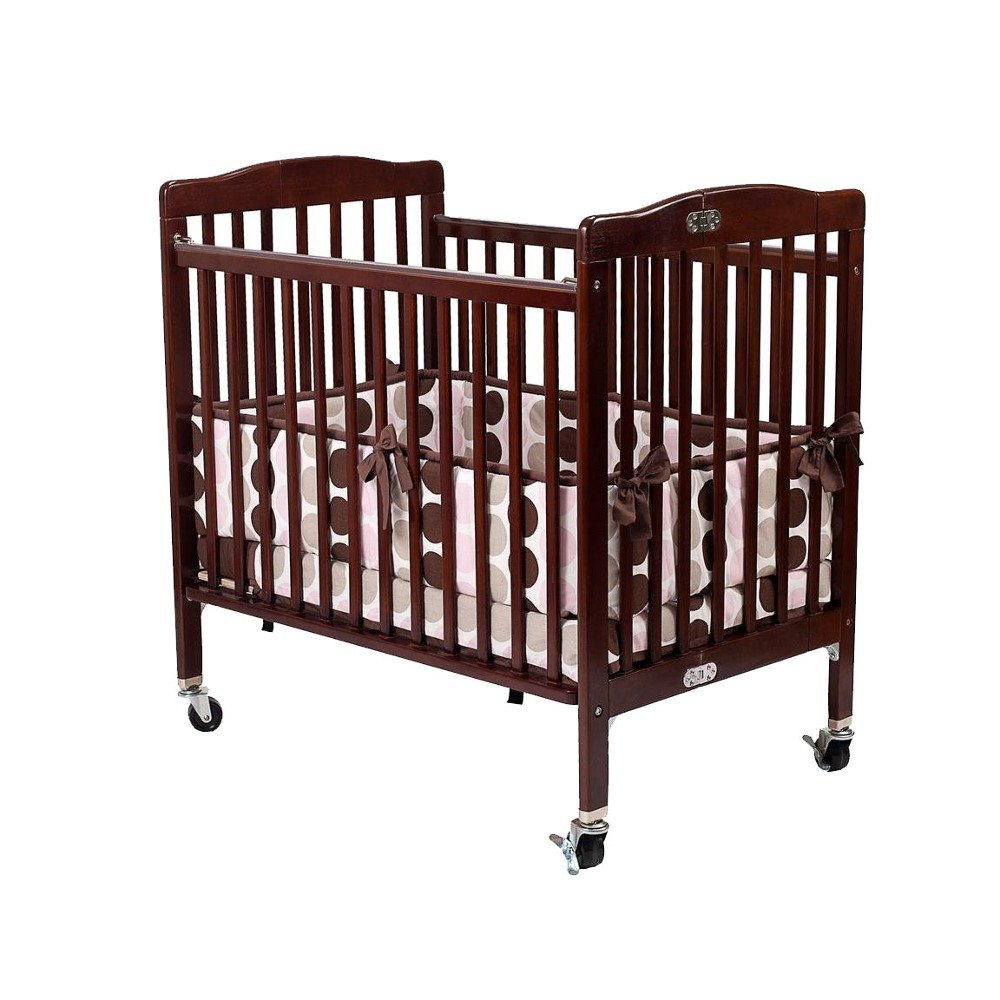 "L.A. Baby 888A-C 24"" x 38"" Cherry Folding Pocket Crib with 3"" Fire Retardant Mattress"