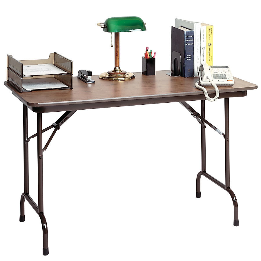"Correll CF2436MK 24"" x 36"" Walnut Melamine Top Keyboard Height Folding Table"