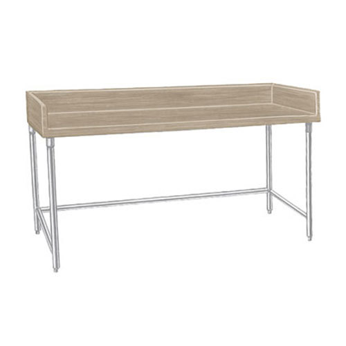 "Advance Tabco TBS-365 Wood Top Baker's Table with Stainless Steel Base - 36"" x 60"""