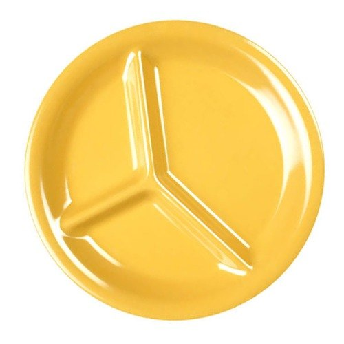 "Thunder Group CR710YW 10 1/4"" Yellow 3-Compartment Melamine Plate - 12/Pack"