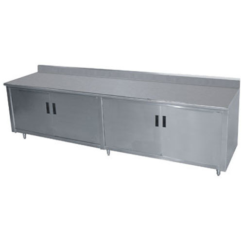 "Advance Tabco HK-SS-309M 30"" x 108"" 14 Gauge Enclosed Base Stainless Steel Work Table with Fixed Midshelf and 5"" Backsplash"