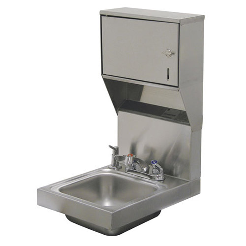 "Advance Tabco 7-PS-83 Super Saver Hand Sink with Deck Mount Faucet, Soap, and Paper Towel Dispenser - 12"" x 16"""