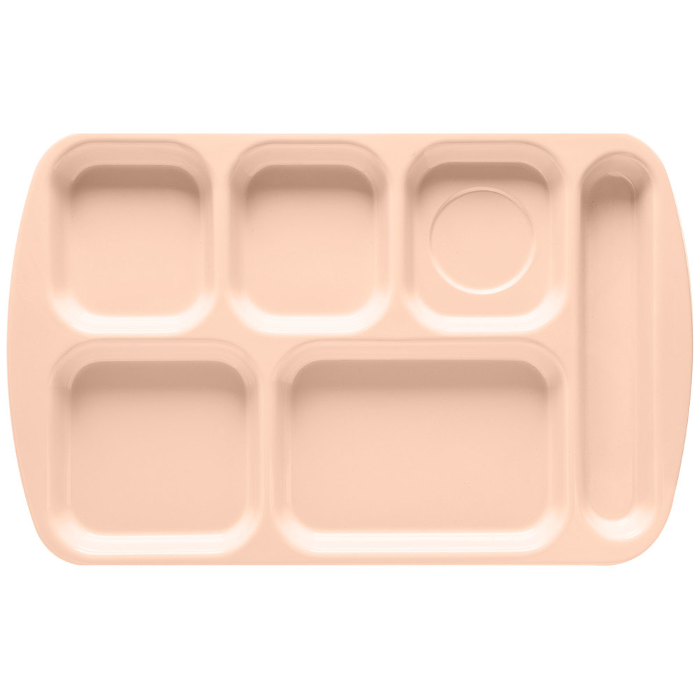 "GET TR-151 Tan Melamine 10"" x 15 1/2"" Right Hand 6 Compartment Tray - 12/Pack"