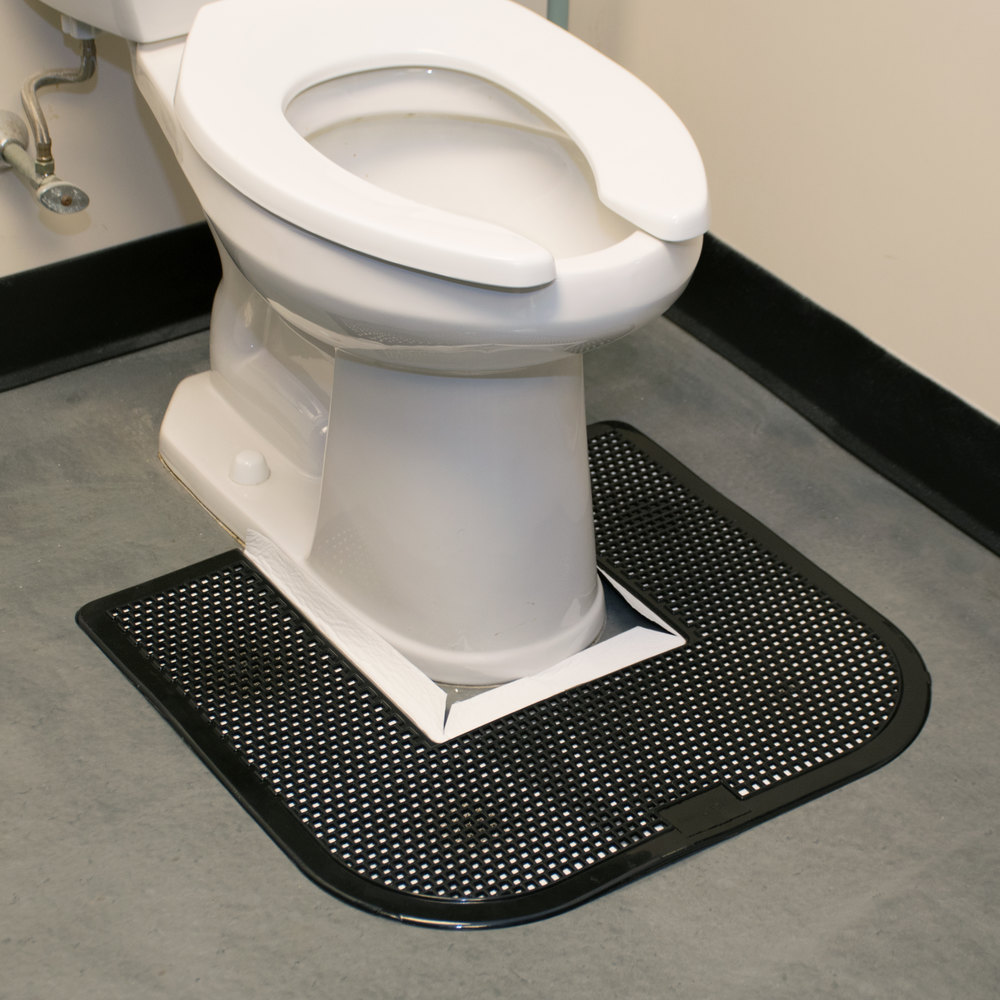 "23"" x 22"" Black Disposable Toilet Floor Mat (IMP 1550-5) - 6 / Case"