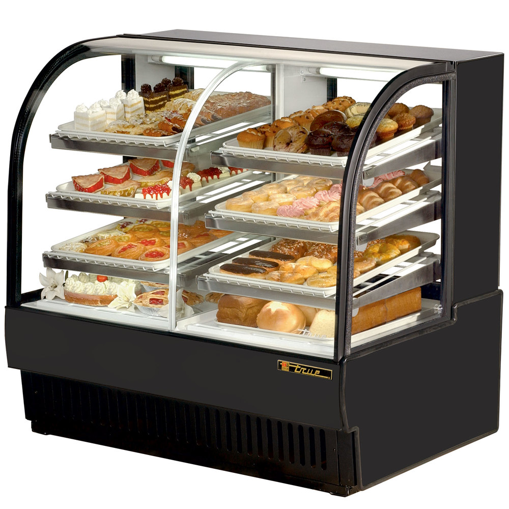 "True TCGDZ-50 50"" Black Curved Glass Dual Zone Dry / Refrigerated Bakery Case - 27 Cu. Ft."