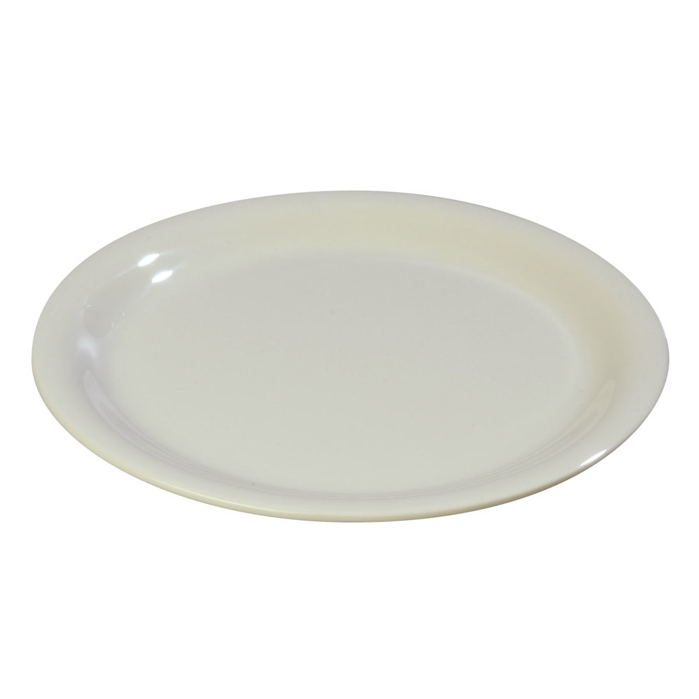 "Carlisle 3300642 7 1/4"" Bone Sierrus Narrow Rim Salad Plate - 48 / Case"