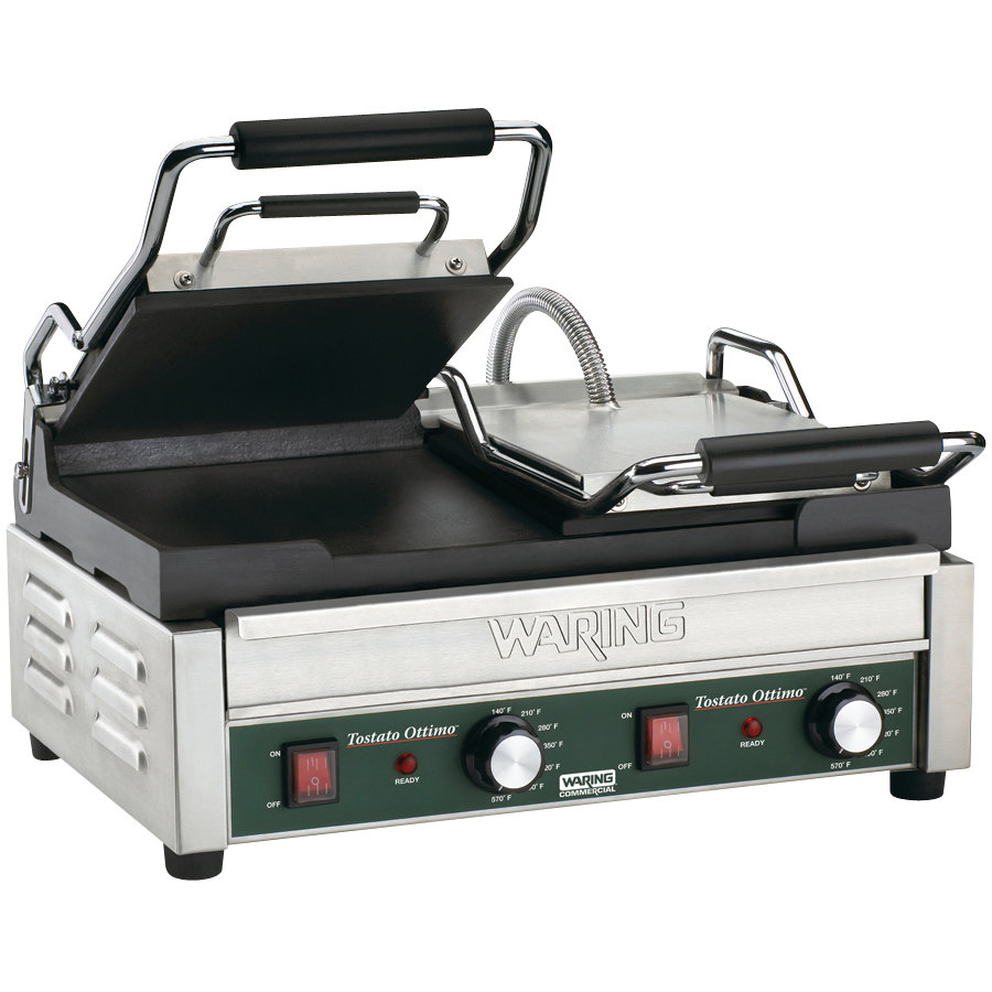 "Waring WFG300 17"" x 9 1/4"" Tostato Ottimo Smooth Top & Bottom Dual Panini Sandwich Grill 240V"