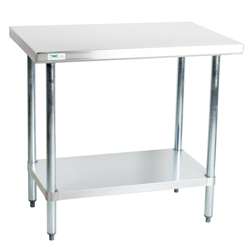 Regency 18 Gauge 304 Stainless Steel Commercial Work Table - 30 inch x 36 inch with Undershelf