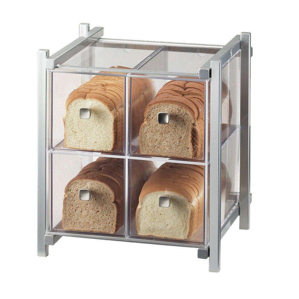 Cal Mil 1146-74 Silver One by One Four-Drawer Bread Case - 14 inch x 14 3/4 inch x 15 3/4 inch