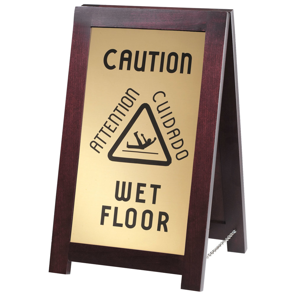 Cal mil 851 wet 2 sided wooden wet floor sign for Floor banner