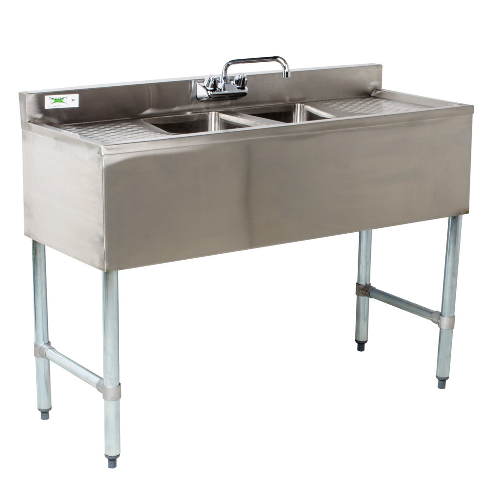 Regency 2 Bowl Underbar Sink With Faucet And Two