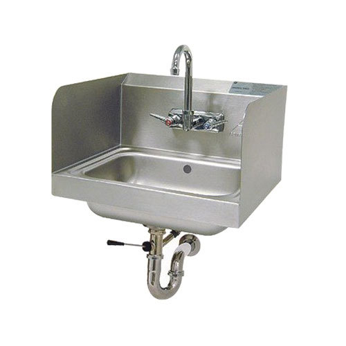 "Advance Tabco 7-PS-40 Hand Sink with Side Splash Guards and Lever Operated Drain - 17 1/4"" x 15 1/4"""