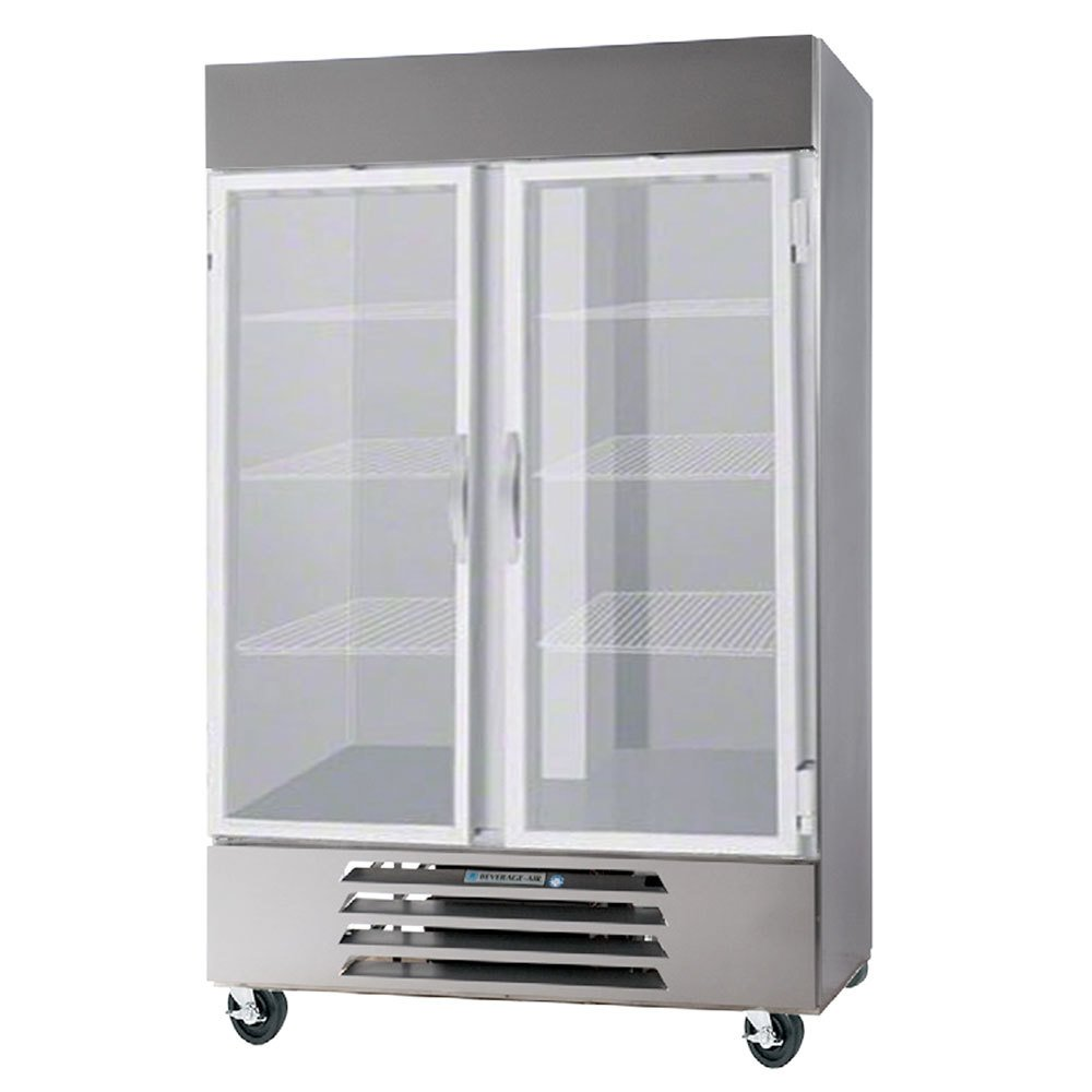 Beverage Air HBF49-1-G-LED Two Glass Door Bottom Mount Reach In Freezer - 49 Cu. Ft.