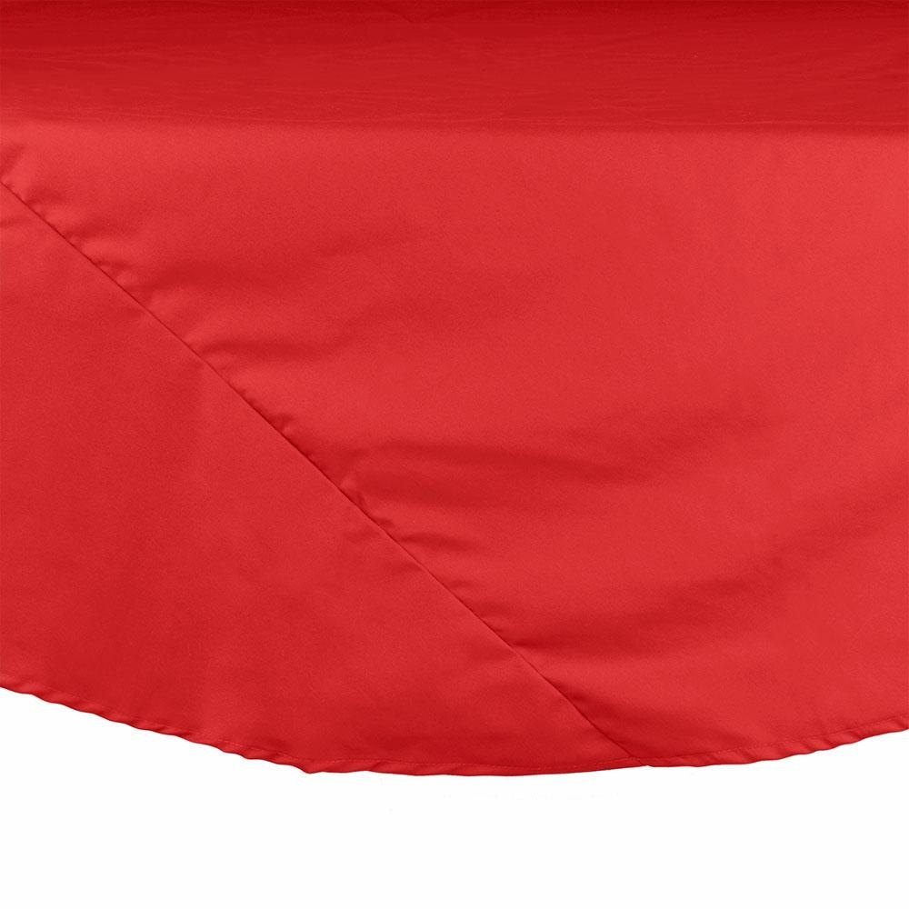 "90"" Red Round Hemmed Polyspun Cloth Table Cover"