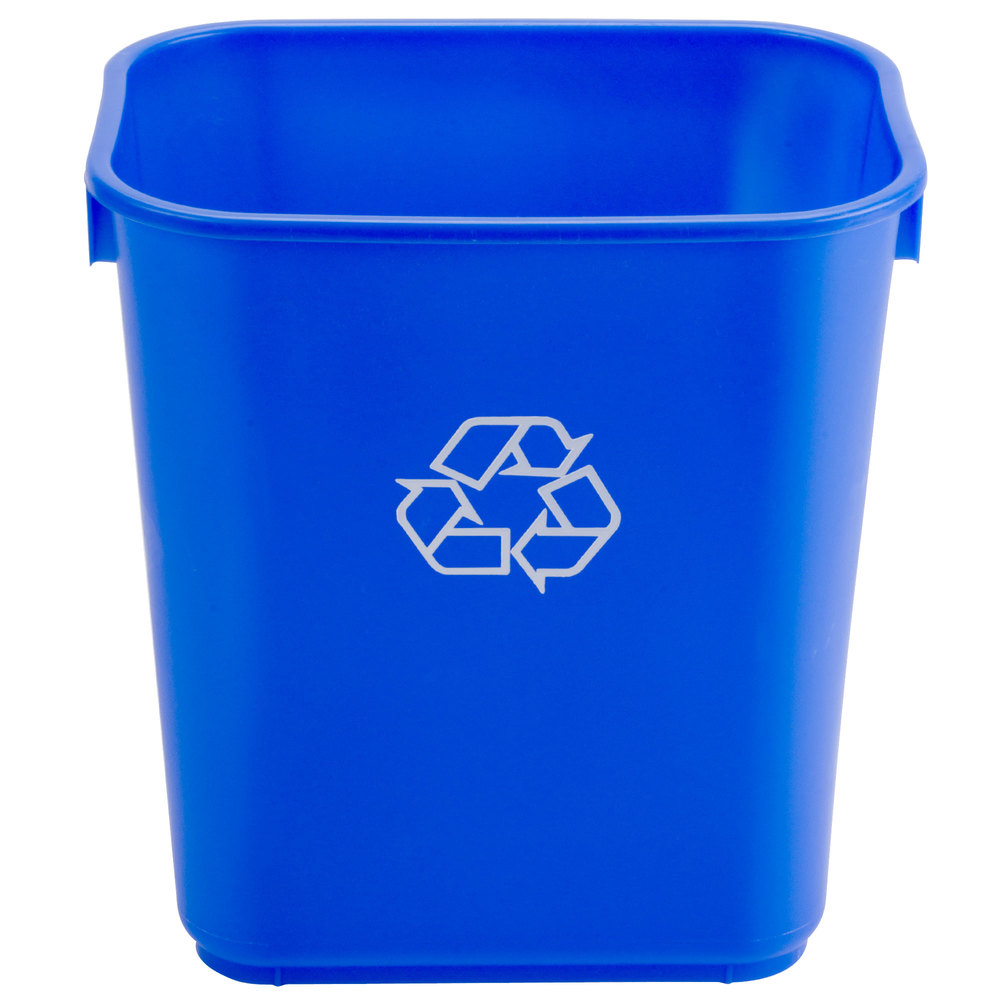 Waste Basket continental 1358-1 13.6 qt. blue rectangular recycling wastebasket